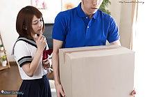 Kogal Mari Rika face sits delivery man and sucks his cock
