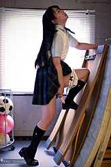 Student In Uniform Long Hair Skirt Raised Panties Down Masturbating With Toy