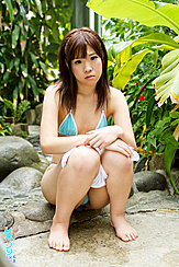 Japanese Teen Uri Squatting In Leafy Garden Wearing Tiny Powder Blue Bikini
