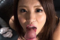 Breasty cutie Nakahori Ayumu nude on bed and sucking big cock