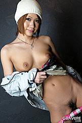 Panties Pulled Down Revealing Black Natural Bush Small Tits Bared With Bra Pulled Down