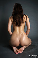 Kneeling On Floor Long Hair Down Her Back Shapely Bare Ass Bare Feet