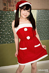 Wearing Santa Outfit Long Hair In Pigtails