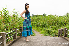 Standing On Footbridge Hands On Hips Long Hair Wearing High Heels