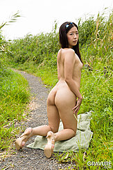 Miyuki Fukatsu Kneeling Nude On Path Nice Ass Wearing High Heels