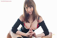 Kisaki Aya Giving Handjob Black Top Lowered Bra Pulled Down Exposing Her Tits