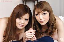 Shiraishi Nao giving handjob with Tominaga Yuria nude