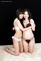 Shindou Miki kneeling with Kurihara Moeka in bra and panties