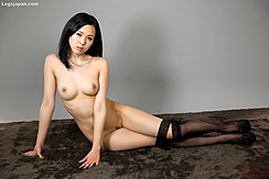 Yokoyama Natsuki Sitting Naked On Floor Firm Pert Breasts Thighs Pressed Together Wearing Black Stockings