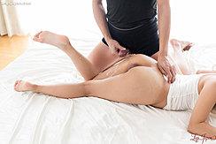 Cumming Over Her Thigh Nice Ass Bare Feet