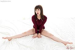 Katou Tsubaki Seated Dress Raised Pussy Hair Bare Feet