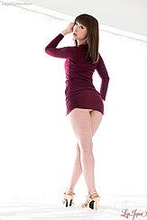 Katou Tsubaki Looking Over Her Shoulder Dress Riding Up Over Her Panties Upskirt Panties Wearing High Heels