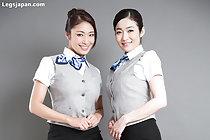 Office ladies Reiko Kobayakawa and Ryu Enami giving footjob