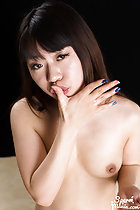 Arimura Chiho with hand raised to her lips cum on her hand small breasts