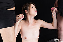 Katou Tsubaki Naked Between Two Men Holding Cocks Cum On Her Hands Small Breasts