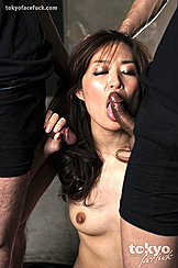 Hirako Saori Kneeling Stroking And Sucking Cock Long Hair Down To Her Small Breasts