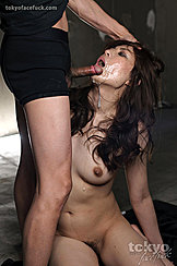 Head Thrown Back Cock To Her Open Mouth Long Hair Small Breasts