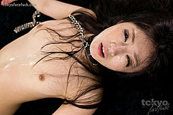 Shiina Mizuho Lying On Her Back Tendrils Of Long Hair Across Her Small Breasts Bondage Chain Around Her Neck