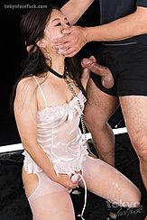 Fukatsu Miyuki On Her Knees In Lingerie Masturbating In Stockings