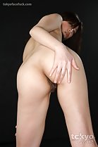 Hirako Saori leaning forward hand on ass