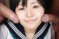 Sweet kogal Yuki has her face covered in thick bukakke cum