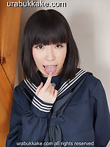 Momoha licking tip of her finger in seifuku uniform