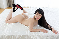Nude On Bed Lying On Her Front Feet In High Heels Pressed Together Nice Ass Long Hair