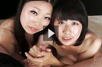 Miyanaga Kaori and Itou Rin tease cock and give handjob