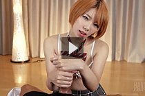Blonde student Kobayashi Chie giving handjob in bra